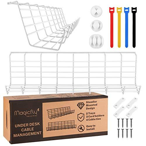 Magicfly Set de 2 Organizadores de Cables para Escritorio con 3 Soportes y 4 Bridas, 43,2 cm de Largo, Bandeja Organizadora de Cables Debajo de la Mesa, Blanco