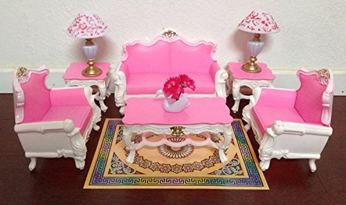 Gloria Barbie Sized Deluxe Living Room Furniture & Accessories Playset by Barbie