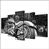 Cuadro sobre Lienzo 5 Piezas Impresión En Lienzo Neumático ancho de motocicleta Chopper 150X80CM...