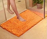 TOPCHANCES Cute Non Slip Water Absorption Plush Bath Mat Soft Floor Rug Bedroom Bathroom Shower Carpet Natural Reversible Plastic Rug Backed Rubber Doormat (45cm x 70cm,1.5cm Thickness)(Orange)