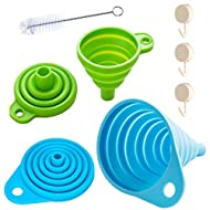 Silicone Collapsible Funnel,Kitchen Gadgets Foldable Funnel for Water Bottle Liquid Transfer Narrow and Wide Mouth Funnels (1 pack large+1 pack small) YOCEAN