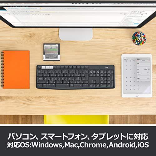 ロジクールワイヤレスキーボード無線K375sWindowsMacChromeAndroidiOS対応BluetoothUnifyingワイヤレスキーボード耐水スタンド付国内正規品2年間無償保証