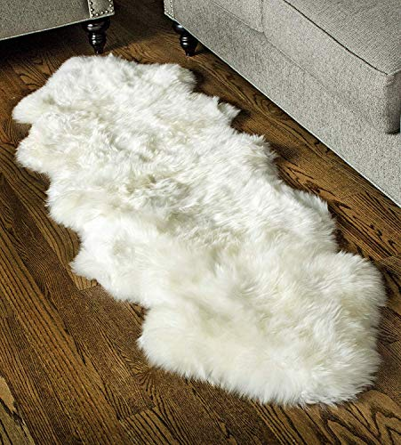 Super Area Rugs Genuine Sheepskin Rug 2x6 Soft & Natural Bedside Area Rug, Natural, Double Pelt