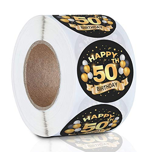 Greatingreat 50th Birthday Stickers Labels 1.5 Inch Round 500 PCS Per Roll-Black and Gold 50th Birthday Party Favor Stickers-50th Happy Birthday Party Favors Stickers