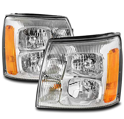 ZMAUTOPARTS Replacement Chrome Headlights Headlamps For 2003-2006 Cadillac Escalade/ESV/EXT