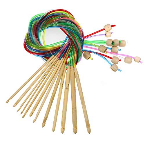 12本入り かぎ針 竹製 輪針 手芸 手編み 針 毛糸編み針 カラフル 編み針 編み棒 セット