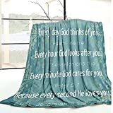 Bible Verse Blanket Inspirational Thoughts and Prayers- Religious Blankets Soft Lightweight Cozy Plush Warm Kids Men Women Gift Throw Blankets for Living Room Bedroom Couch Chair 50'x60'