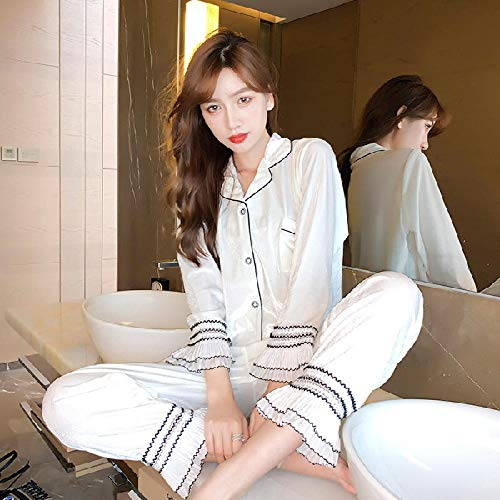 Pyjamas Dames, Automne et Hiver Velours Or Dames Cardigan Pyjamas,-blanc-M, Pyjamas Set pour Femmes Sexy