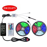 WenTop Led Strips Lights Kit 65.6 Ft(20M) SMD 5050 600leds RGB Led Strip Lights with Remote and 24V Power Supply for Home, TV, Bedroom, Kitchen, Festival, Bar, Party Lighting and Decorative