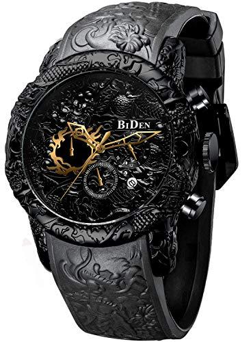 Herren-Armbanduhr, Chronograph, großes Zifferblatt, wasserdicht, Datumsanzeige, Quarzuhr, 3D-Drache, Designer-Armbanduhr für Herren, Gummiarmband-Schwarz