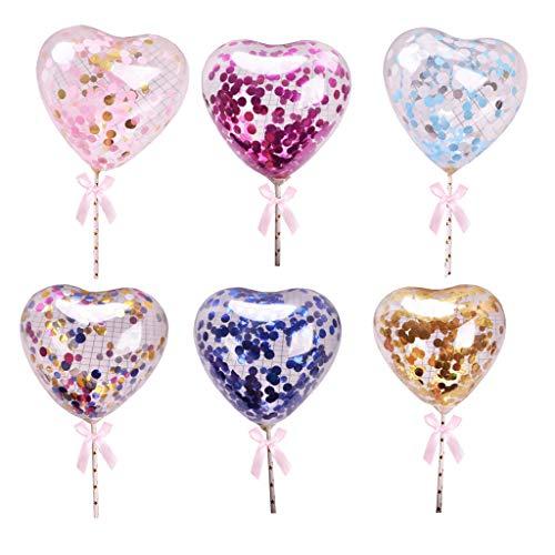 Amycute 6 Stücke Herzförmige Pailletten Ballons Mini Cupcake Toppers ,Tortendekoration,Cake Topper Deko Geburtstag Ballons für Kinder Party Kuchen Dekorationen Geburtstag Deko. (6PCS)