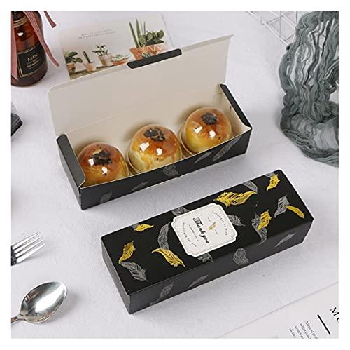 HAIBOMY Bolsa de Regalo 10 unids Cajas de cartón Rectangular Cajas de Galletas de mármol Las Galletas de Embalaje Baking Baking Chocolate Caja de Papel Suministros de Fiesta (Color : Black)