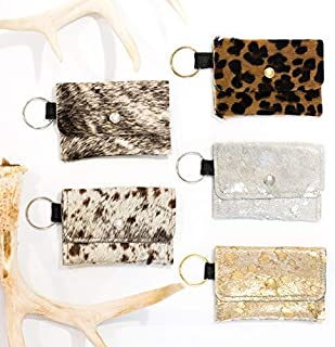 Keychain Wallet - Small Cowhide Wallet, Leather Card Holder, Keychain Pouch, Wallet KeyFob Hair on Hide Gold, Silver, Leopard, Gray Brindle
