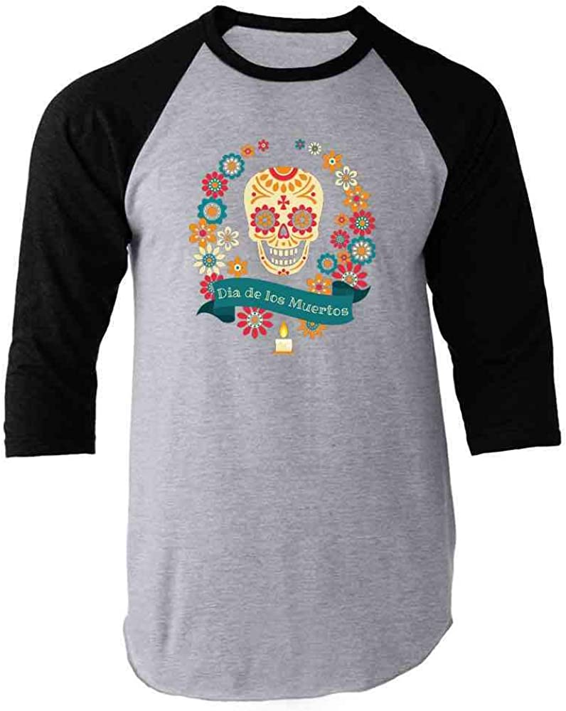 Dia de Los Muertos Day of The Dead Skull Calavera Raglan Baseball Tee Shirt