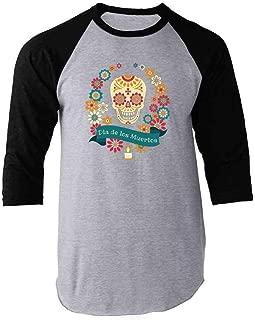 Dia de Los Muertos Sugar Skull Halloween Horror Raglan Baseball Tee Shirt