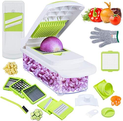 LOMOFI Mandoline Multifunktion Professionel Gemüsehacker/Gemüseschneider Kartoffelschneider -Zwiebel Vegetarisch Essen Salat Chopper- Schneider Schäler Käsereibe