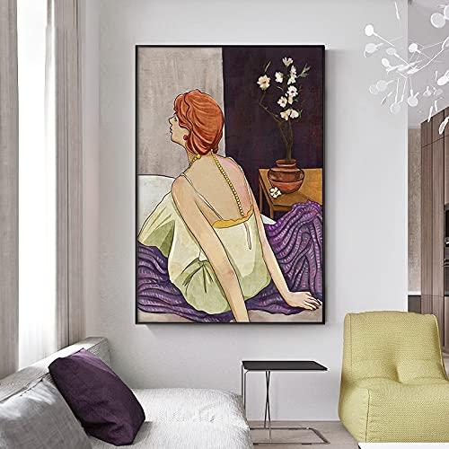 Yegnalo Carácter Retro nórdico Pintura Abstracta de la Lona Arte de la Pared impresión del Cartel Imagen Pintura Decorativa Sala de Estar decoración del hogar