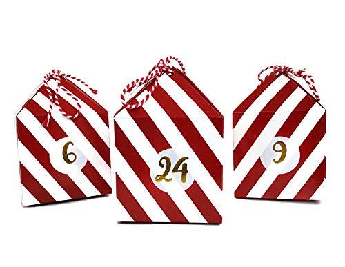 Cavore Selbstgemachter Adventskalender zum Befüllen – Weihnachtskalender DIY Set mit 24 Boxen, Zahlen-Aufkleber und Schnüre in Rot/Weiß zum Selber Basteln – Weihnachten 2020