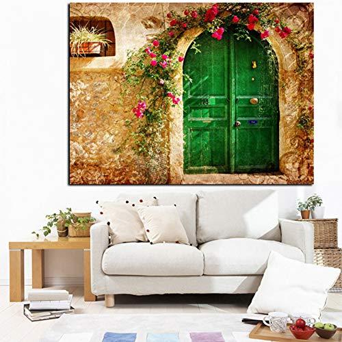 suhang digitale print 3D Europees oud huis met groene deuren olieverfschilderij op canvas muurkunst schilderij voor woonkamer sofa decor 60x80 cm Unframed ongeframed.