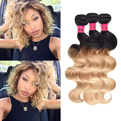WOME Ombre Hair Bundles Ombre Blonde Human Hair 3 Bundles Body Wave Hair Weaves Two Tone #1b/27 Brazilian Unprocessed Hair Wefts Extensions(10' 12' 14')