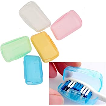 SpiderJuice Antibacterial Hygiene Toothbrush Cover Head Caps Holder That Protects Bristles from Dust and Insects Perfect for Travelling, Home and Office (Pack of 5 Pieces, Random Colors)