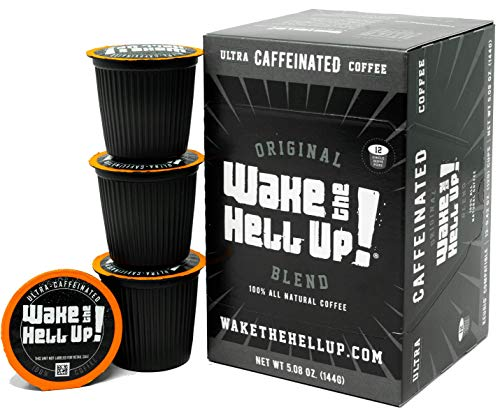 Wake The Hell Up! Dark Roast Single Serve Capsules | Ultra-Caffeinated Coffee For K-Cup Compatible Brewers | 12 Count, 2.0 Compatible Pods | Perfect Balance of Higher Caffeine & Great Flavor.