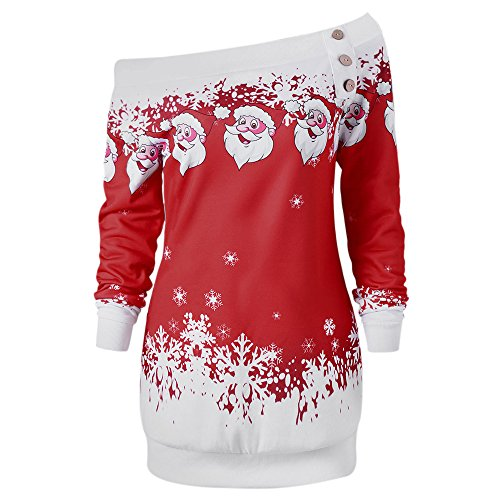 CharMma Damen Weihnachten Pullover Langarmshirt Santa Claus und Schnee Druck Sweatshirt - jetzt bei Amazon bestellen