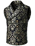 VATPAVE Mens Victorian Double Breasted Vest Gothic Steampunk Waistcoat Large SV16 Black
