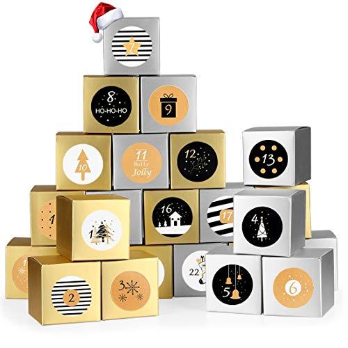 Adventskalender zum Befüllen, 24 Adventskalender Boxen, mit Golden Zahlenaufklebern, Adventskalender Selber Befüllen, für Weihnachtlichen 2020 zum Basteln und Befüllen, Weihnachts DIY, Golden Silber