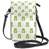 Billetera verde del monedero del teléfono celular del patrón de las ranas para las mujeres de la muchacha pequeña Crossbody