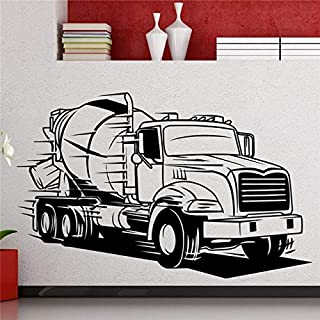 58x93cm,Wall Stickers for Living Room Flowers,Wall Tattoo Art, Big Truck Semi Cement Transport Automobile Room Interior Family Sticker Wallpaper Decal Birthday Art Vinyl Decoration Christmas