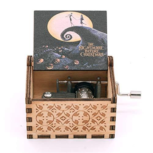 Caja de música para grabar pesadilla antes de Navidad, tamaño mini de madera, manivela musical, regalo para cumpleaños, Navidad, Día de Acción de Gracias, decoración de Halloween