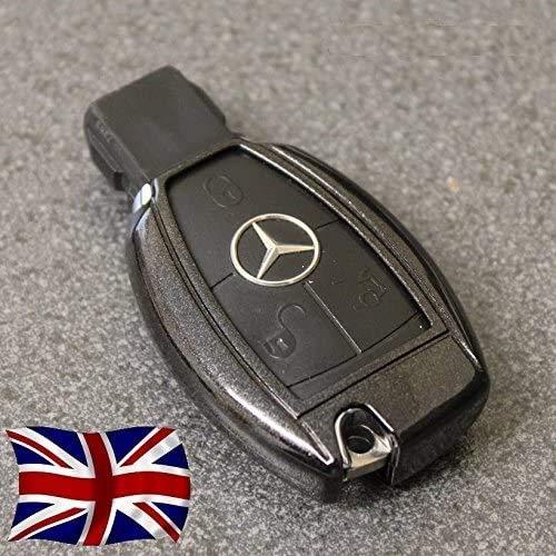 UK-Direct-Deals Ltd - Custodia per chiavi auto per Mercedes Benz A, B, C, CLA, CLK, CLS, E, S, SLK, SL, classe Viano, Vito, AMG, GT, con fori per pulsanti e portachiavi Diamond Black