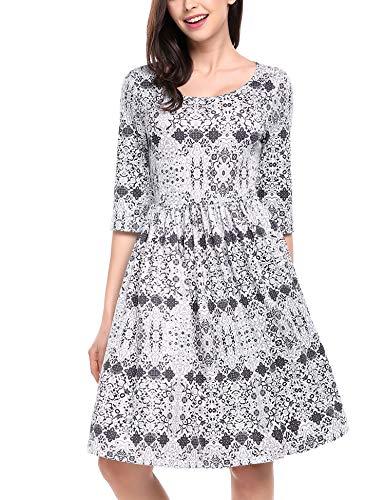 Meaneor Damen Vintage Kleid Blumen 3/9 Ärmel Partykleid Knielang Freizeitkleid Casual A Linie Elegant Sommerkleid mit Falten Retro Weiß L