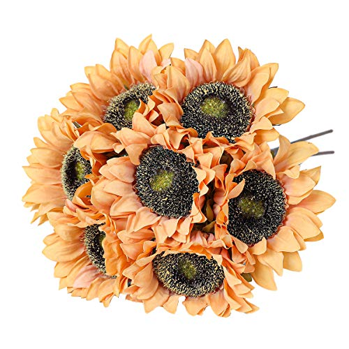 Hawesome 7pcs girasoles artificiales vintage ramo de flores falsas flexibles de tallo largo decoración de la sala de mesa centros de mesa decoración de fiesta fiesta decoración naranja claro