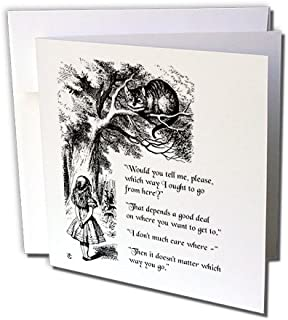 3dRose Which Way Ought I Go from Here Chesire Cat - Alice in Wonderland Quote, Greeting Cards, Set of 6 (gc_193784_1)
