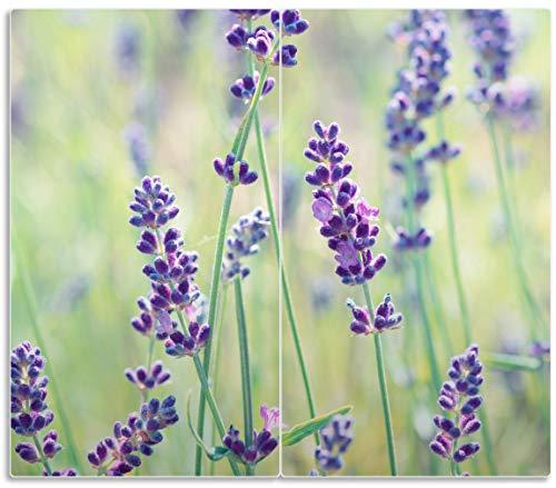 Wallario Herdabdeckplatte/Spritzschutz aus Glas, 2-teilig, 60x52cm, für Ceran- und Induktionsherde, Lila Blumenfreude - Violette Pflanzen auf der Wiese