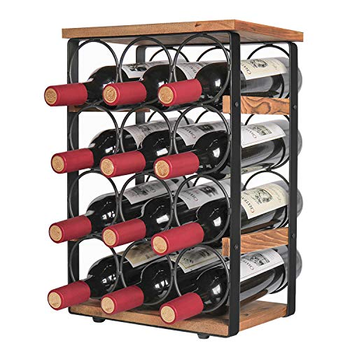 X-cosrack Rustic 12 Bottles Wine Holder Rack Tabletop Wine Racks Countertop Wine Bottles Organizer Stand Tabletop Liquor Storage Shelf Wood & Iron 12.60''L x 7.9''W x 17.8''H