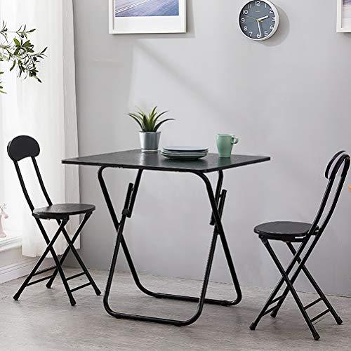 Zhyaj Juego De Muebles De Jardín/Juegos De Muebles De Patio - Mesa De Comedor Plegable Y 2 Sillas,Negro,80cm Square Table