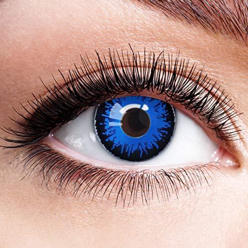 Farbige Kontaktlinsen Blau Ohne Stärke Blaue Crazy Weiche Motiv-Linsen Farbig Halloween Karneval Fasching Cosplay Kostüm Werwolf mit Rand Schwarz Dunkelblau