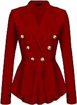 Aro Lora Women's Work Office Blazer Casual Peplum Blazer Crop Frill Ruffle Hem Blazer Jacket Coat with Buttons