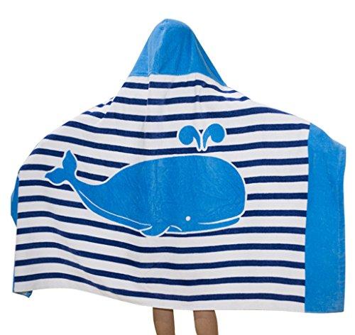 Comfysail 100% Baumwolle Kinder Kapuzen Handtuch Bade Badetuch für Jungen und Mädchen von 2-7 Jahren Strand 76 * 127cm (Blau)
