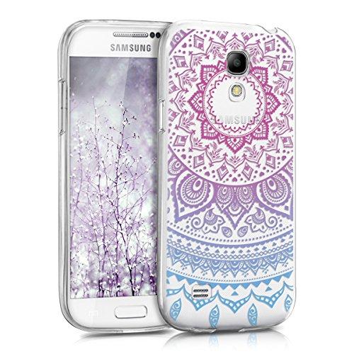 kwmobile Hülle kompatibel mit Samsung Galaxy S4 Mini - Handyhülle - Handy Case Indische Sonne Blau Pink Transparent