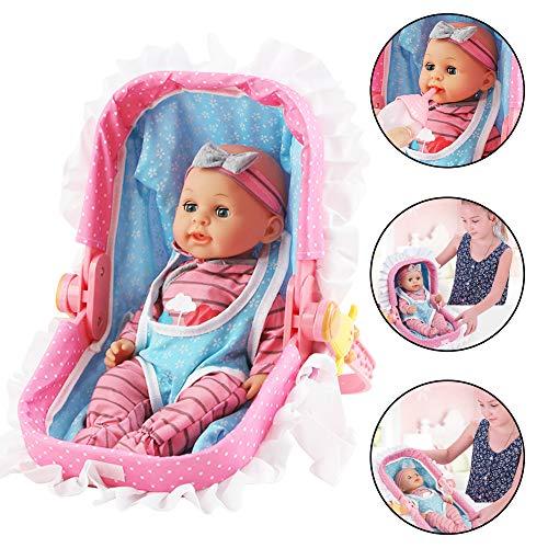 deAO Conjunto de Muñeca Bebé y Portabebés Plegable y Versátil Muñeca de 14
