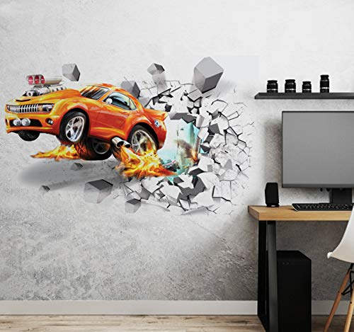 Aoligei 3D Car Wall Stickers Living Room Bedroom Decal Cartoon Boys Teens Kids Children Room Removable Self Adhesive Wall Stickers Wallpaper Poster