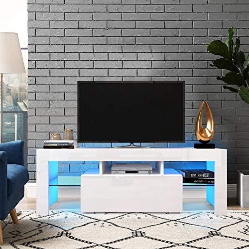 Fernsehschrank, Fernsehtisch für Fernseher bis 60 Zoll, Lowboard Weiß Hochglanz, TV Schrank, TV Regal mit LED, Wohnzimmer, 130 x 35 x 45 cm