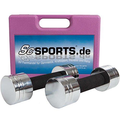 ScSPORTS® 5 kg Hantelset Kurzhantel-Set mit 2X Kurzhantelstange, Hantelscheiben Chrom, komplett zerlegbar im Koffer (pink)