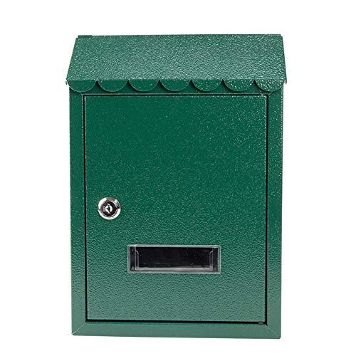 HWF Briefkasten Wandbriefkästen An Der Wand Montiert Briefkasten für Veranda Tür/Hintereingang, Verzinktes Metall Abschließbar Wetterfest Mailbox mit Viewing Windows, Grün