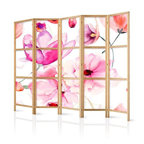 murando - Paravent XXL Blumen 225x171 cm 5-teilig einseitig eleganter Sichtschutz Raumteiler Trennwand Raumtrenner Holz Design Motiv Deko Home Office Japan p-B-0010-z-c