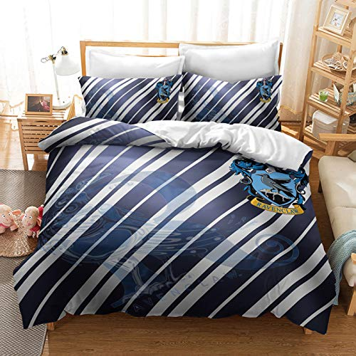QXbecky 3D School of Magic Brushed Active Printing and Dyeing Bedding Duvet Cover Pillowcase 2, 3 Piece Set Soft and Environmentally Friendly Active Printing and Dyeing Harry